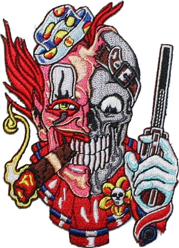 Skull Clown Pistol Embroidered iron on biker Patch