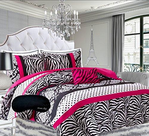 Teen Girls Hot Pink Black White Bedding Comforter Damask Zebra FULL Bedspread Set + 2 Shams + Adorable Throw Pillow + Home Style Sleep Mask Polka Dot Fuchsia Paris Comforters Sets for Girl Kids (Zebra Full Bedding compare prices)