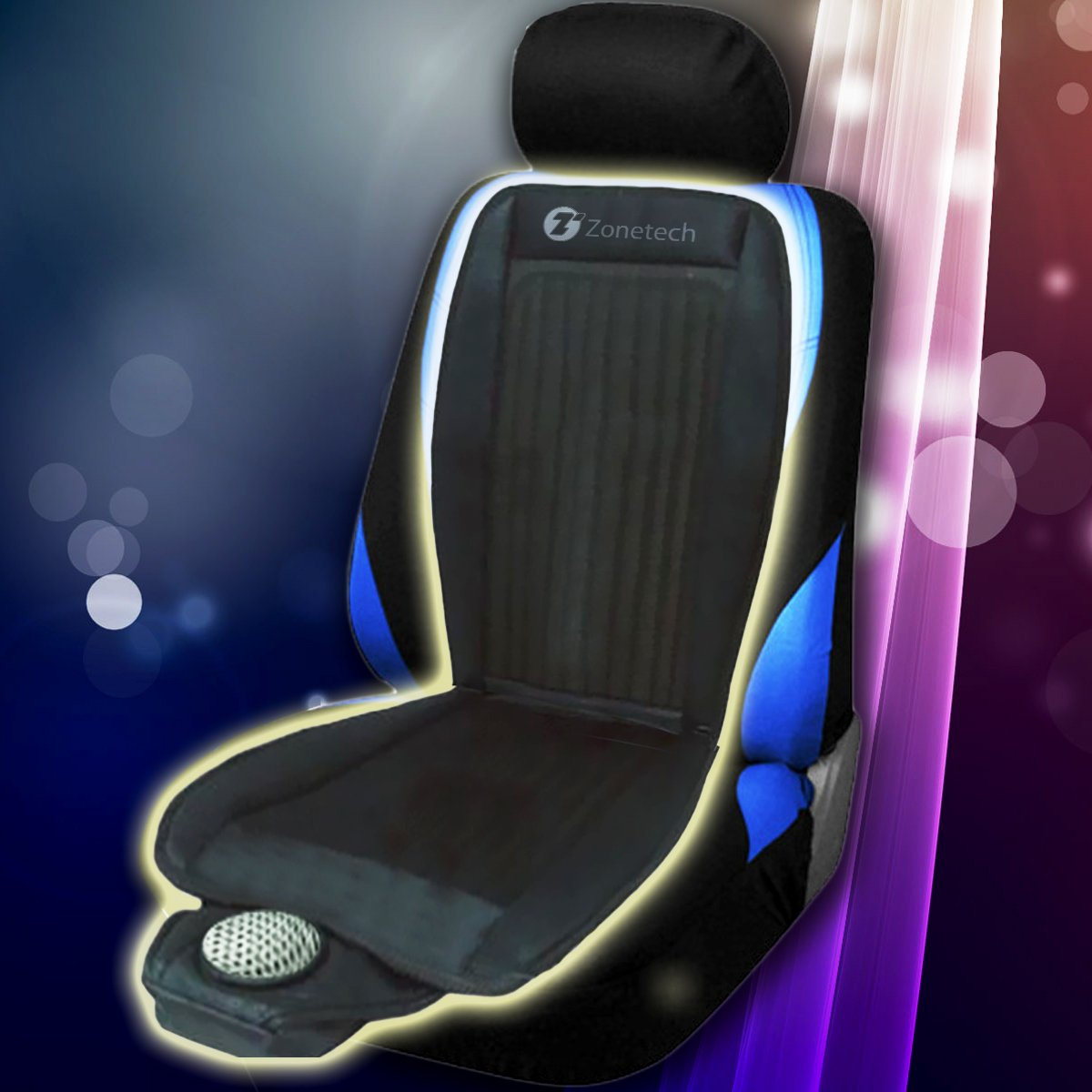 zone tech 2x black cooling car seat cushion cooler 12v adjustable temperature ebay. Black Bedroom Furniture Sets. Home Design Ideas