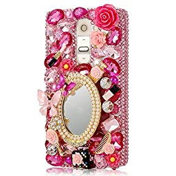 LG K10 Bling Case - Fairy Art Luxury 3D Sparkle Series Girls Butterfly Cosmetic Mirror Flowers Crystal Design Back Cover with Soft Wallet Purse Red Cloth Pouch - Pink