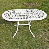 Gartengarnitur Elise Aluminium 136 x 81cm Ovales 4-Teiliges Aluguss Gartenmöbel Set + 4 Rose Stühle, Weiß