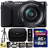Sony NEX3 NEX-3 NEX-3N NEX3N NEX3NL NEX-3NL B Compact Mirrorless Interchangeable Lens Digital Camera with 16-50mm f 3.5-5.6 Lens (Black) with Beginner Accessories Bundle Kit includes 8GB Class 10 SDHC Memory Card + x2 Replacement (1200mAh) NP-FW50 Battery + Home Wall Charger with Car and European Adapter + Professional 60