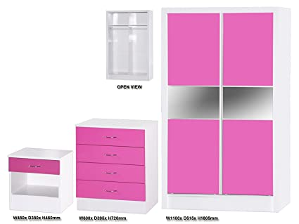 Alpha Pink High Gloss and White Slider Set, Wood, Multi-Colour, 3 Piece
