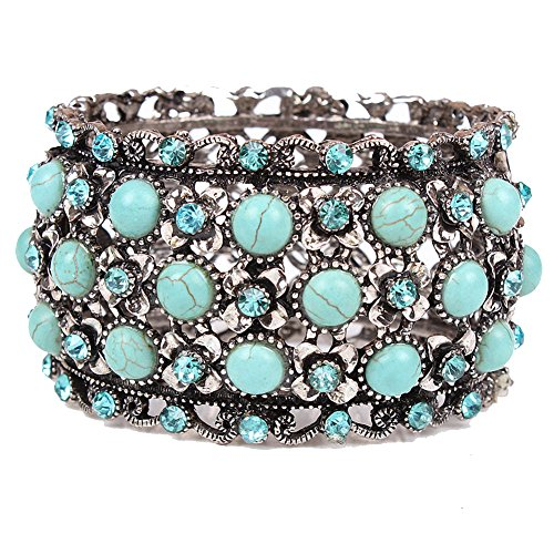 Fashion Vintage Women Tibetan Silver Plated Turquoise Inlay Charm Wide Bangle Cuff Bracelet,Spring Buckle