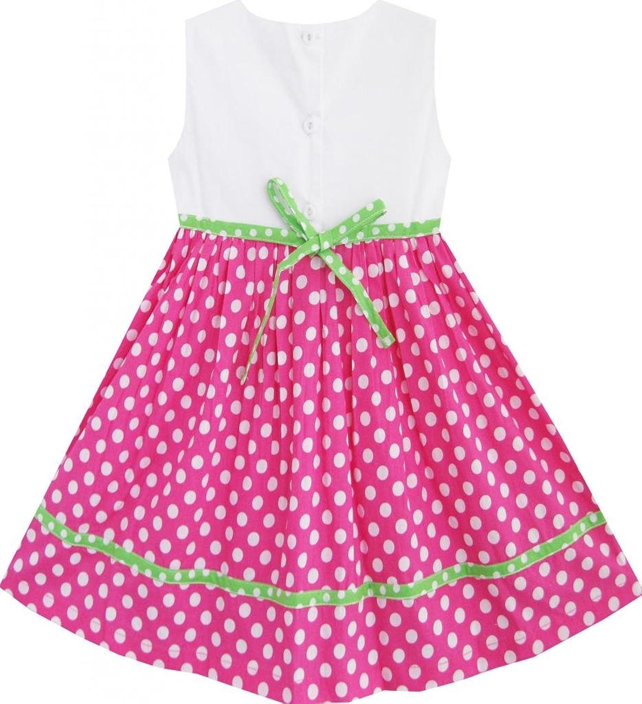 Sunny Fashion Girls Dress Pink Dot Flower Embroidered Sundress: Playwear Dresses