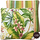 Tropical Kiss Collection - Outdoor Patio Pillow Cover - Green, Yellow, Purple and Orange Hues - Tommy Bahama Stripes and Banana Leaf Floral (for a 20