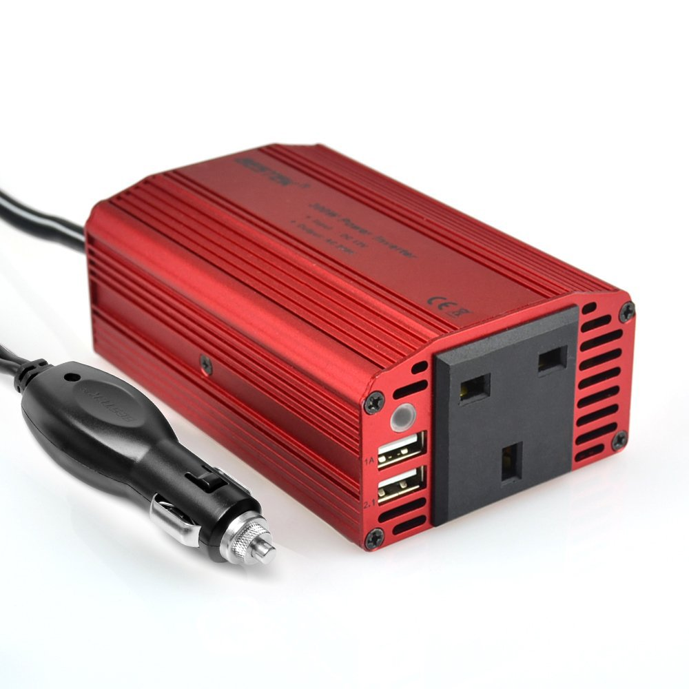 BESTEK 300W Power Inverter DC 12V to 230V AC Converter with AC Outlet and 3.1A Dual USB Car Charger