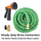 Ohuhu® 50 Ft Super Strong Garden Hose / Expandable Hose / Expandable Garden Hose with All Brass Connector & Free 8-pattern Spray Nozzle, Green