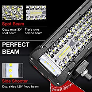 Teochew-LED Side Shooter Light Bar Flood Spot Combo Quad Row Light Bar Fog Lights Driving Lights for ATV UTV Truck Jeep 4x4 Boat 12 Inch LED Light Bar
