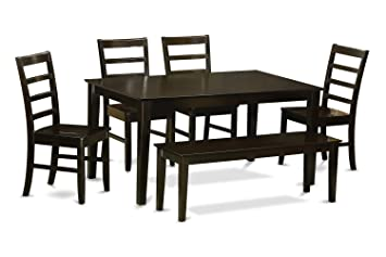East West Furniture CAPF6-CAP-W 6-Piece Dining Table Set