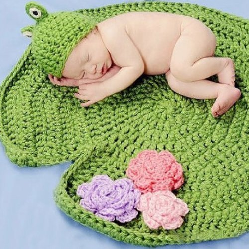 KeeBaby Frog Green Crochet Baby Blanket Hat Knitted Photography Prop - 1