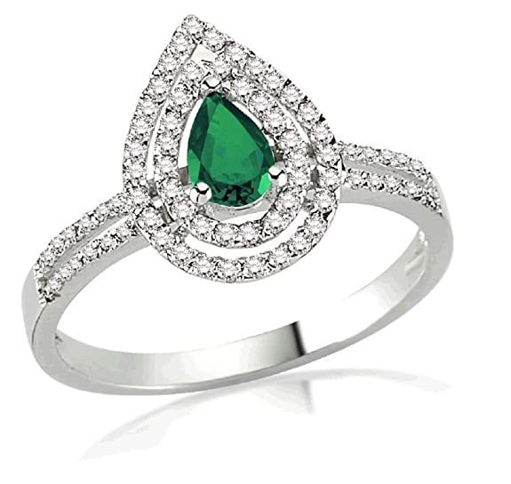 0.66 Carats 18k Solid White Gold Emerald and Diamond Engagement Wedding Bridal Promise Ring Bands