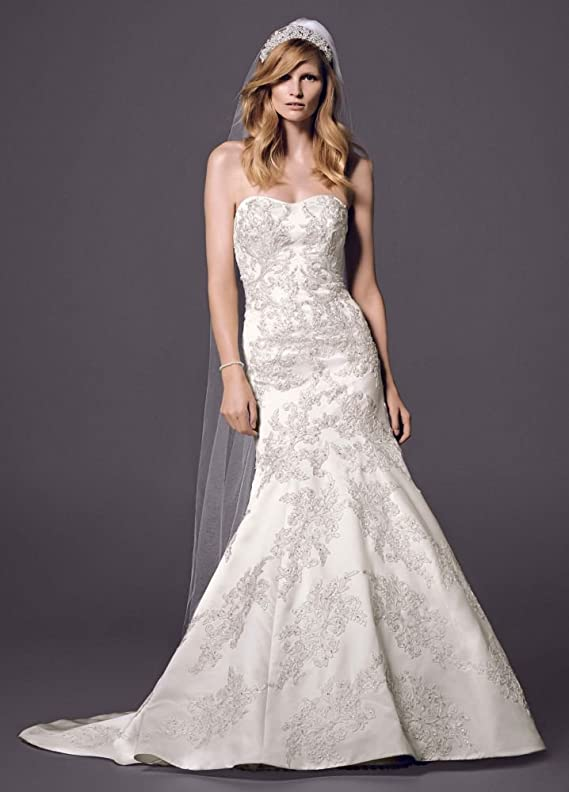 SAMPLE Strapless Satin Trumpet Wedding Dress with Lace Style AI14030093