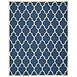 Safavieh Cambridge Collection CAM134G Handmade Navy and Ivory Wool Area Rug, 9 feet by 12 feet (9' x 12')