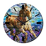 MeSleep Galloping Horse Wall Clock With Glass Top