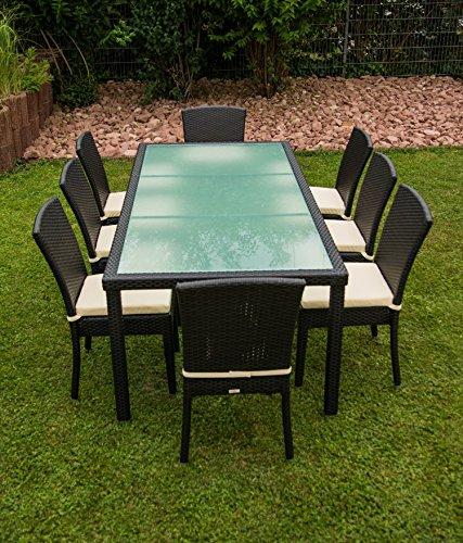 17tlg. Premium Rattan Sitzgruppe Garnitur Garten Möbel Tisch + Stuhl Schwarz