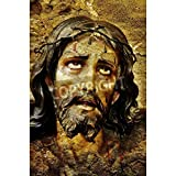 Artzloom Figure Of Jesus Christ On Vintage Background Canvas Art Print Without Frame - Size 25.0 Inch X 37.6 Inch