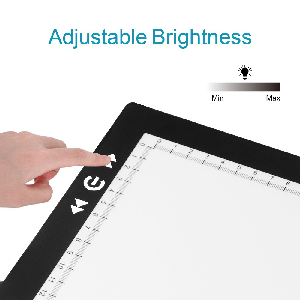 A4 Tracing Light Box, GILUMI Ultra Thin Adjustable Brightness LED Drawing Copy Board Light Box Light Pad for Artists, Drawing, Sketching, Animation