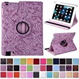 HDE 360° Rotating Leather Folio Case and Stand with Sleep/Wake Feature for iPad 2/3/4 (Purple Embossed)