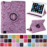 HDE Rotating iPad Case Magnetic Folding Leather Cover Folio Flip Stand for Apple iPad 2 iPad 3 iPad 4 (Purple Embossed)