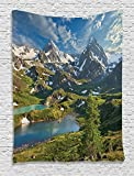Ambesonne Cottage Decor Collection, Siberia Altai Mountains Katun Ridge High Snowy Peaks with Skirts Grass Covered View, Bedroom Living Room Dorm Wall Hanging Tapestry, Green Blue Ivory