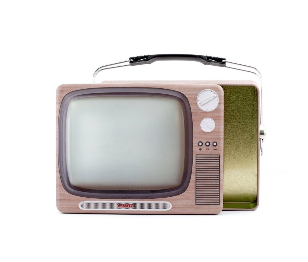 Kikkerland CU211TV TV Tin Lunch Box, Brown 1