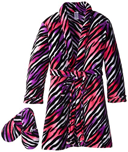 Sleep & Co Girl's Plush Zebra Bathrobe and Slipper Gift Set
