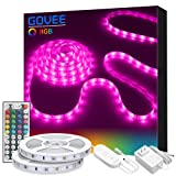 LED Strip Lights, Govee 32.8ft RGB Colored Rope Light Strip Kit with Remote and Control Box for Room, Ceiling, Bedroom, Cupboard Lighting with Bright 5050 LEDs, Strong 3M Adhesive and Cutting Design (Color: Multicolor, Tamaño: 32.8 Feet)