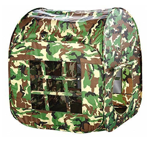 Zewik Large Space Play Tent Children Game Two-Door House Green Camouflage Pretend Army War Soldier by Zewik