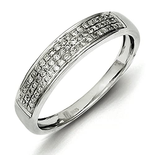 Sterling Silver Diamond Band Ring - Ring Size Options Range: L to P