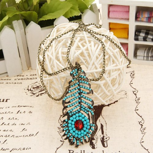 Big Bargain Fashion Retro Alloy Peacock Feather Blue Turquoise Long chain Necklace