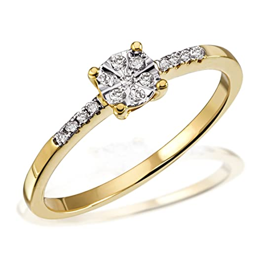 Goldmaid Women's Ring Glamour Yellow Gold with 15 Diamonds 14ct