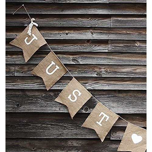 Ginger Ray Hessian Vintage Burlap Just Married Rustic Wedding Bunting - Ginger Ray