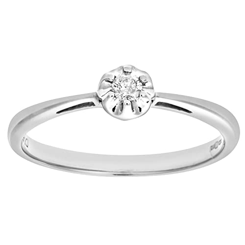 Naava Women's 9ct Illusion set Diamond Solitare Ring