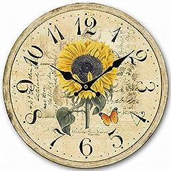 14 Decorative Clock, Eruner Wooden [Sunflower] Cafe Bar Lancaster Paris Wall Clock Retro Styled Non-Ticking Home Decor (HQ5, 14-IN)