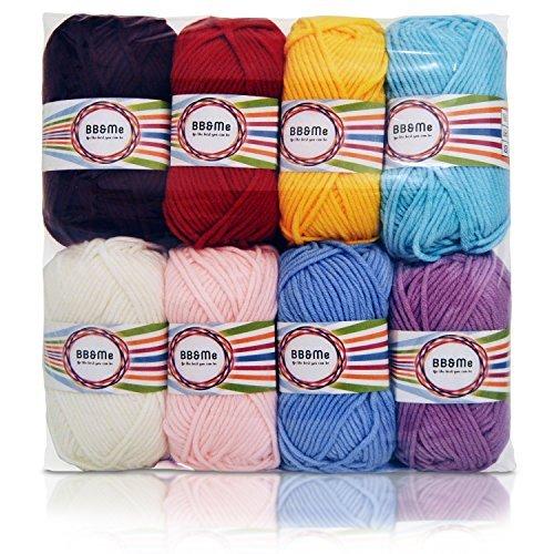 Filato di lana particolare pettinato, filato per uncinetto, morbido, 100% acrilico, 8gomitoli da 50 g