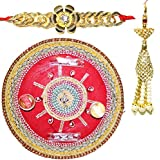 Handcrafted Steel Ganesha Design Pooja Thali Gift With Single Fancy Rakhi & Designer Lumba For Bhabhi - B073RJWJ8P