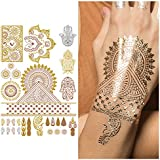 Hand Metallic Jewelry Temporary Tattoos with Matching Gold Rings for Women
