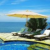 13ft XL Outdoor Patio Umbrella w/ German Beech Wood Pole Beach Yard Garden Wedding Caf?Garden (Beige)