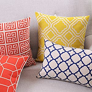 "Createforlife Cotton Linen Decorative Throw Pillow Case Cushion Cover Argyle Pattern Lemon Square 18"" by Createforlife"