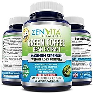 ZenVita Formulas - Pure Green Coffee Bean Extract 800 mg With GCA® - 90 Capsules, GCA® = Green Coffee Antioxidant, Standardized 50% Chlorogenic Acid, 45 Days Supply, Maximum Strength Natural Weight Loss Supplement, and Fat Burner