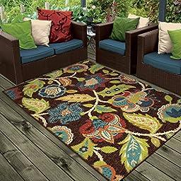 Orian Rugs Indoor/Outdoor Floral Basil Brown Area Rug (5\'2\