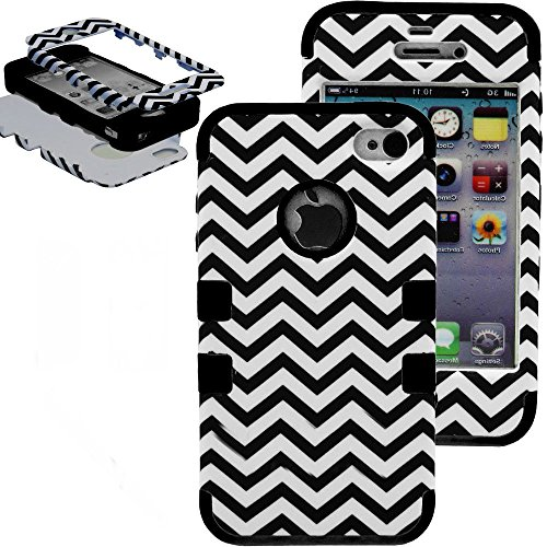 Mylife Black - Chevron Series (3 Piece Protective) Hard And Soft Case For The Iphone 4/4S (4G) 4Th Generation Touch Phone (Fitted Front And Back Solid Cover Case + Internal Silicone Gel Rubberized Tough Armor Skin) front-351226