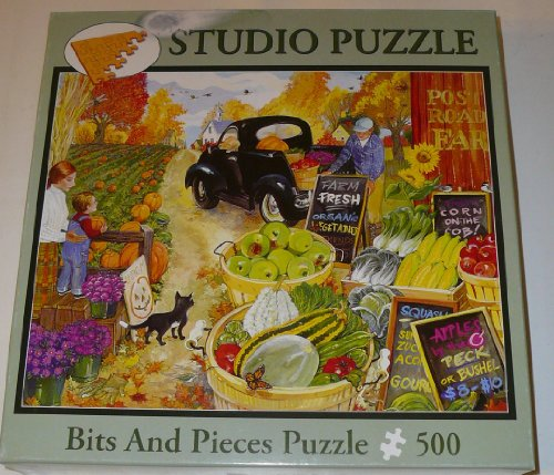 Autumn Farm Stand 500 Piece Jigsaw Puzzle By Artist Elissa Delia-piana Features Farmer Selling Produce - 1