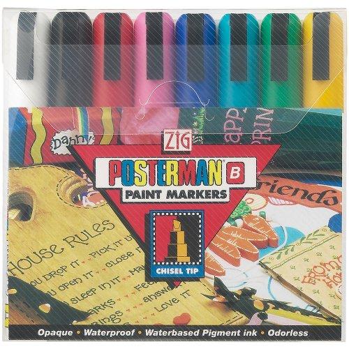 Zig Posterman Broad Tip Markers, Multicolor, 8-Pack