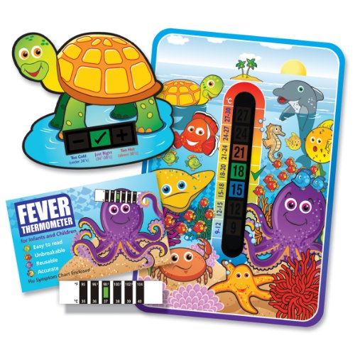 Pack of 'Happy Family' Marine Sea Life Nursery and Room Thermometer, Turtle Bath Thermometer and Forehead Thermometer Fever Pack for Baby/Child