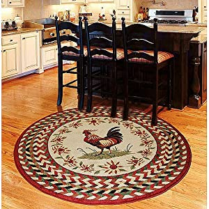 Amazon Com Orian Rooster Braid Rouge 63 Round Kitchen