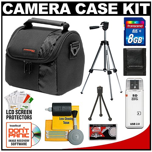 Nikon Coolpix Digital Camera Accessory Kit with Case + 8GB SD Card & Tripod for L22, L24, L110, L120, S80, S3000, S3100, S4000, S4100, S5100, S6000, S6100, S8000, S8100, S9100, P100, P300, P500, P6000 & P7000