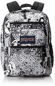 JanSport Big Student Backpack - Black/White Free Spirit / 17.5