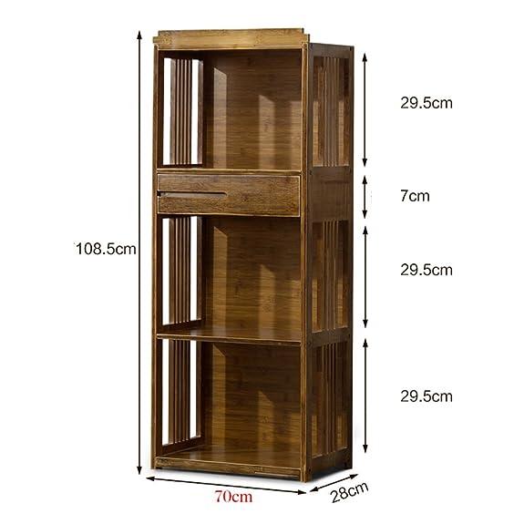 XIAOXIAO Libreria per scaffali da studio con scaffale da terra a 3 strati in bambù art 3 strati Facile da spostare ( dimensioni : 72*28*108.5CM )